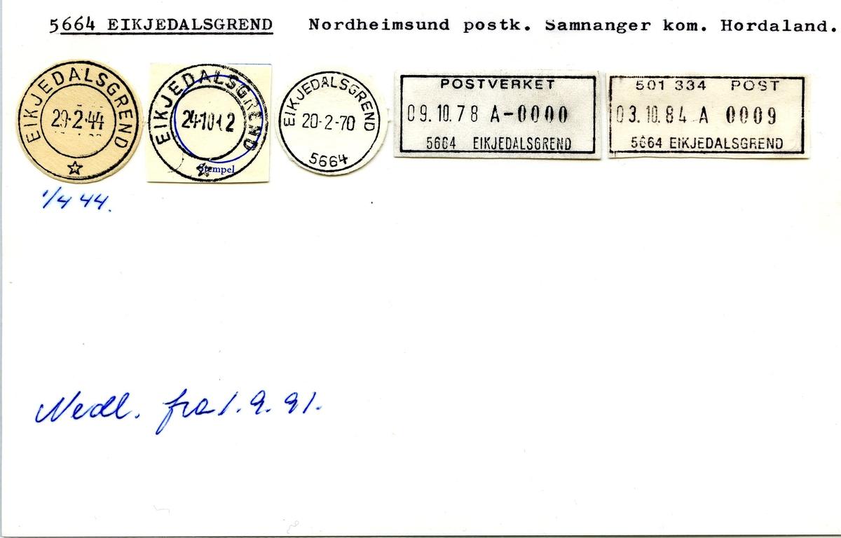 Stempelkatalog.5664 Eikjedalsgrend, Nordheimsund postk., Samnanger kommune, Hordaland