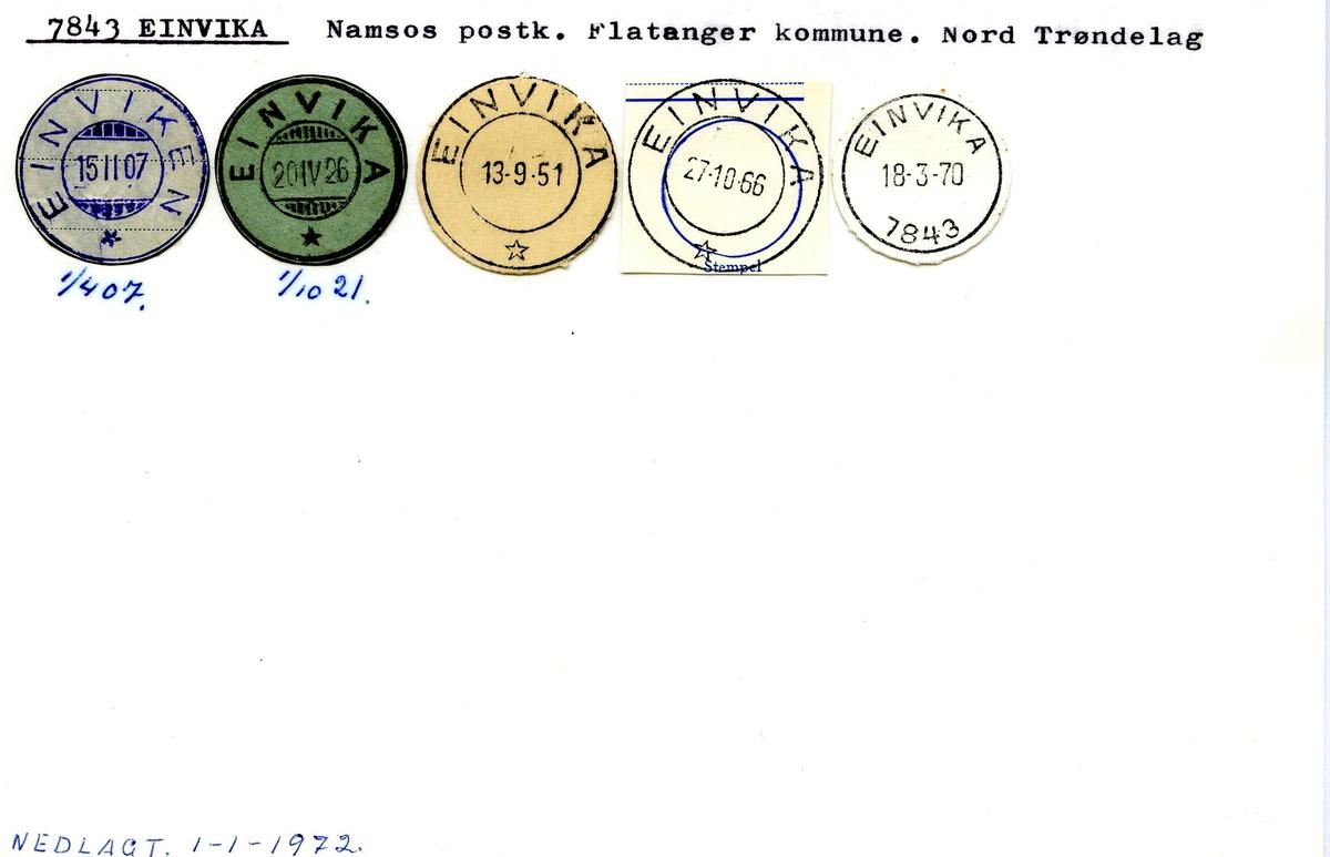Stempelkatalog, 7843 Einvika, Flatanger, Nord-Trøndelag