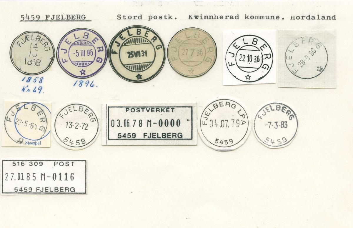 Stempelkatalog, 5459 Fjelberg (Fjælberg), Stord, Kvinnherad, Hordaland