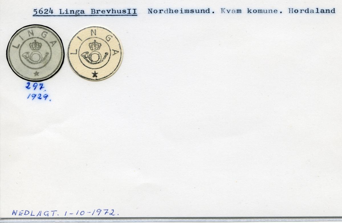 Stempelkatalog, 5624 Linga Brevhus, Nordheimsund, Kvam kommune, Hordaland