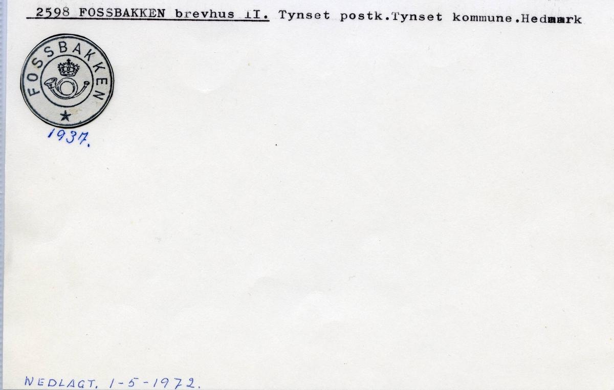 Stempelkatalog.2598 Fossbakken brevhus II, Tynset, Tynset kommune, Hedmark