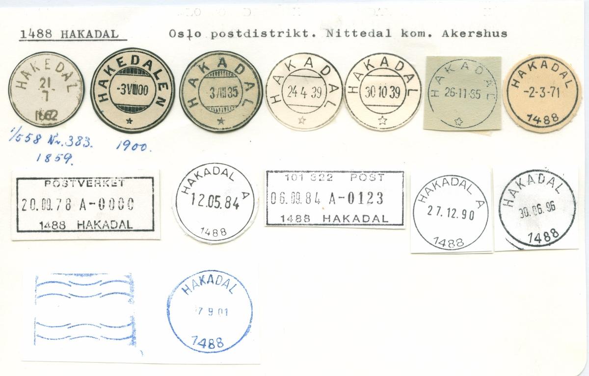 Stempelkatalog. 1488 Hakadal, Oslo postdistrikt, Nittedal kommune, Akershus