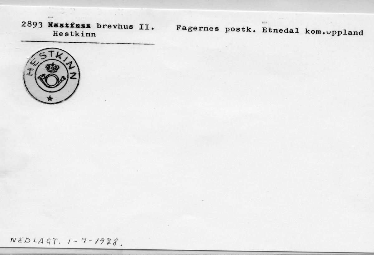 Stempelkatalog 2893 Hestkinn, Fagernes, Etnedal, Oppland