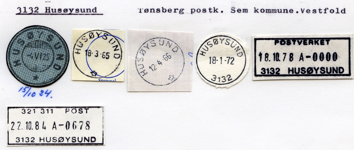 Stempelkatalog 3132 Husøysund, Tønsberg postk, Sem kommune, Vestfold