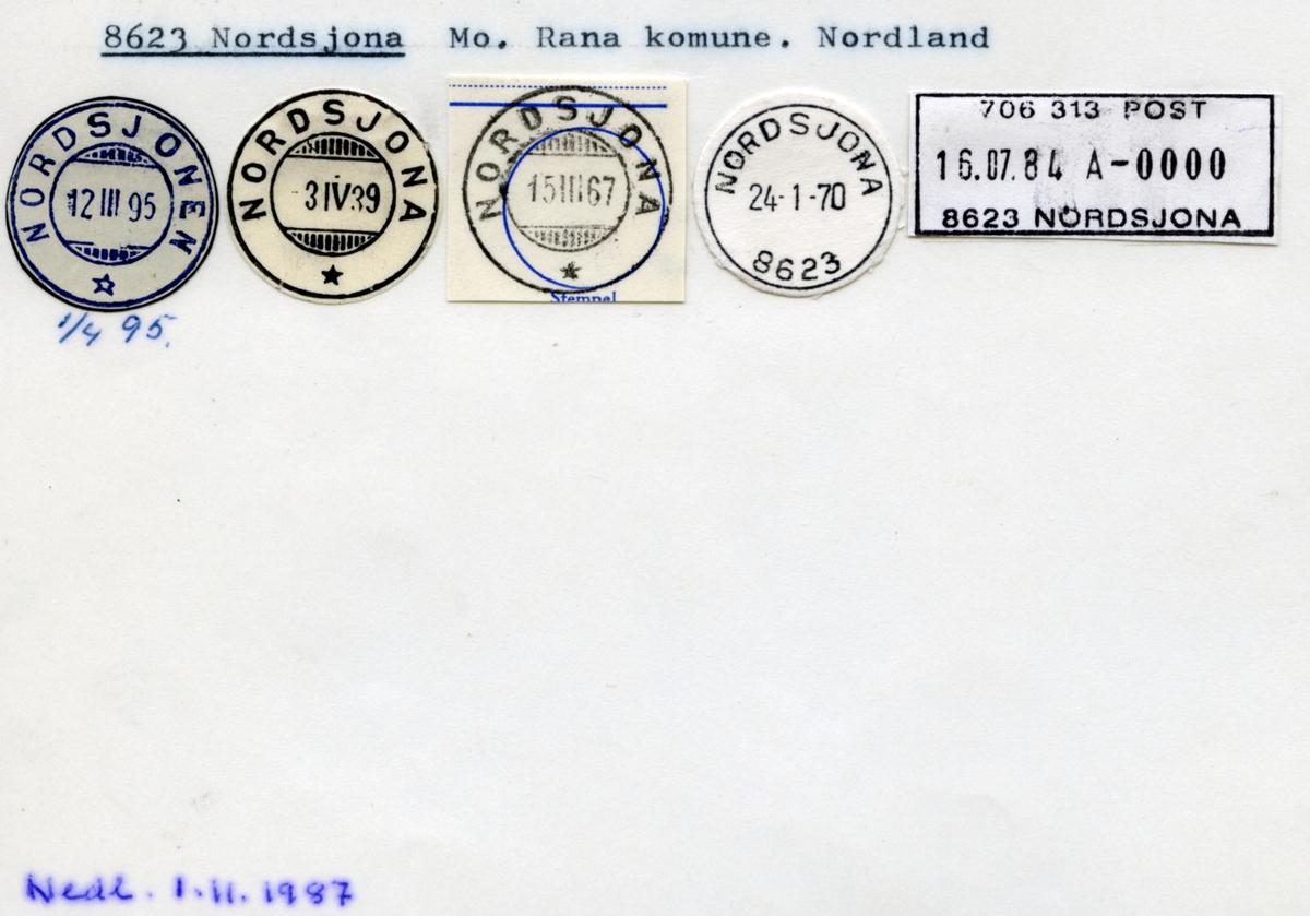 Stempelkatalog. 8623 Nordsjona. Mo postkontor. Rana kommune. Nordland fylke.
