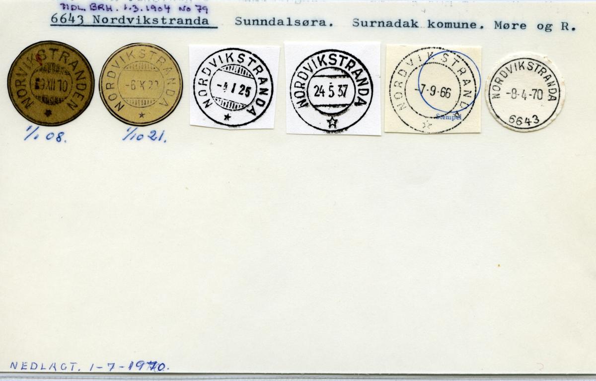 Stempelkatalog. 6643 Nordvikstranda. Sunndalsøra postkontor. Surnadal kommune. Møre og Romsdal fylke.