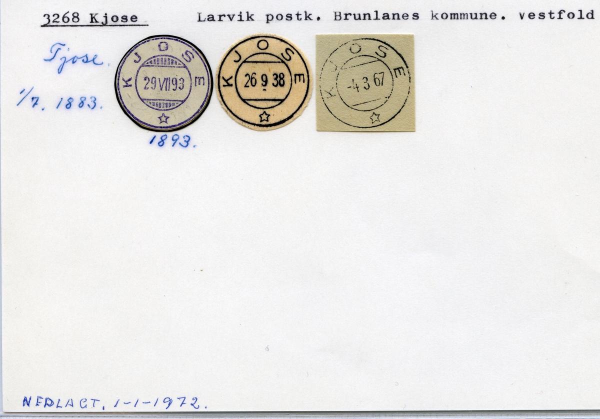 Stempelkatalog 3268 Kjose, Larvik, Brunlanes, Vestfold