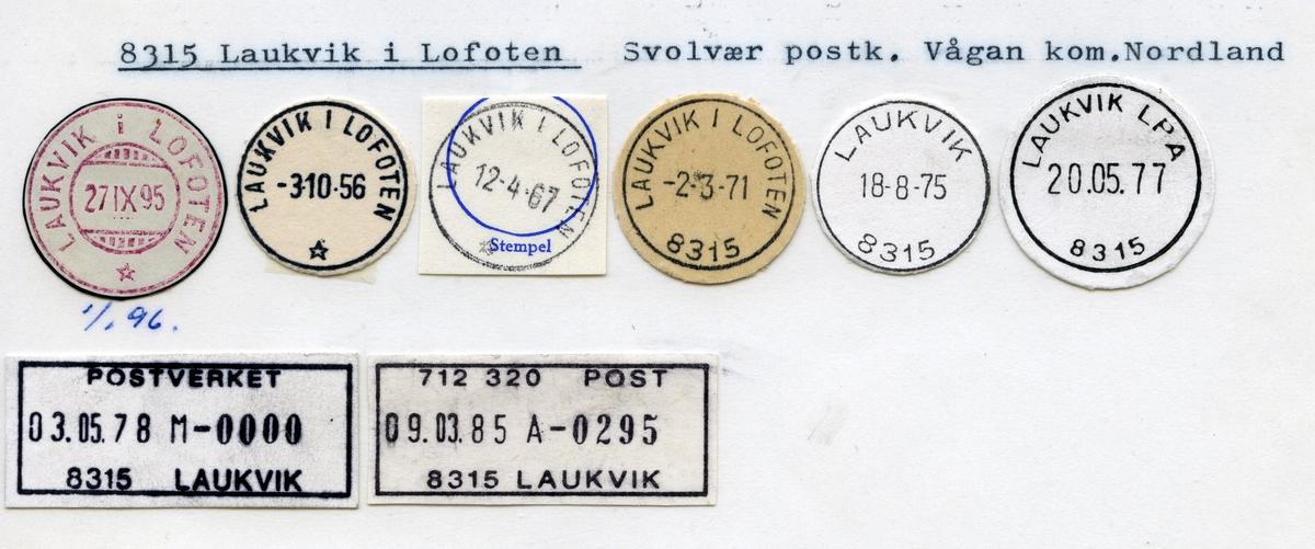 Stempelkatalog 8315 Laukvik i Lofoten, Svolvær, Vågan, Nordland