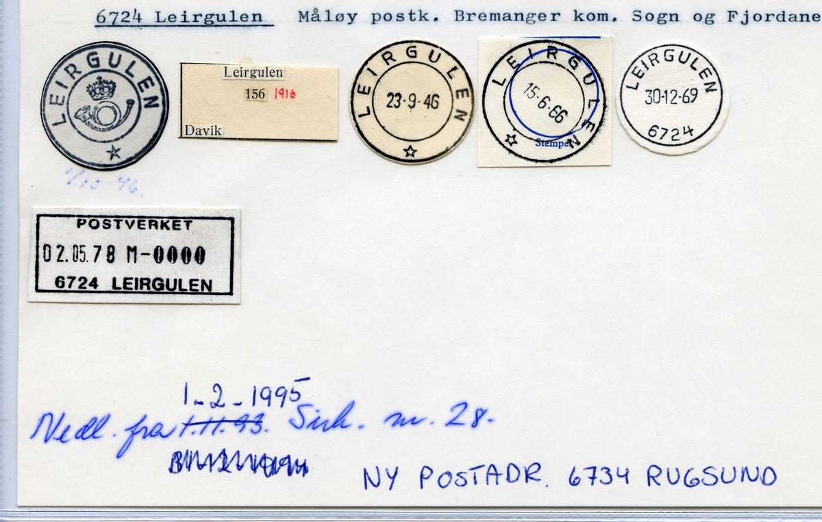 Stempelkatalog 6724 Leirgulen, Måløy, Bremanger, Sogn og Fjordane
