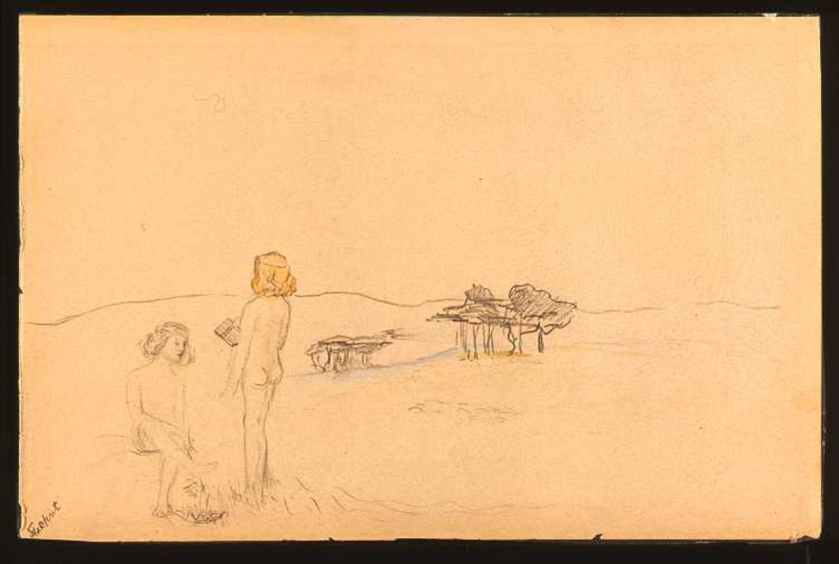 Skissen viser to piker på en badestrand.