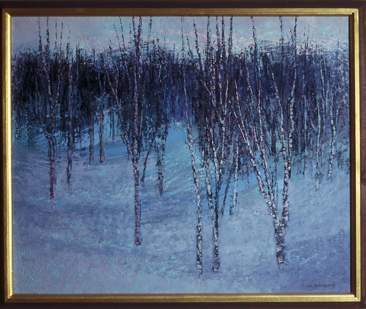 Vinterskog [Maleri - Oljemaleri]