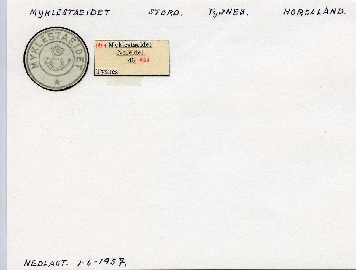 Stempelkatalog  Myklestadeidet, Tysnes kommune, Hordaland