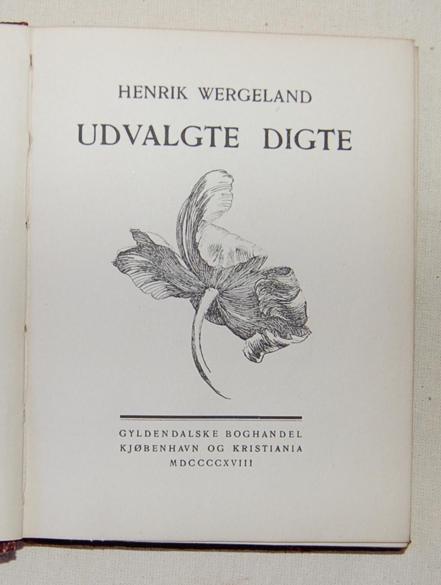 Et blad i gull på bokens forside