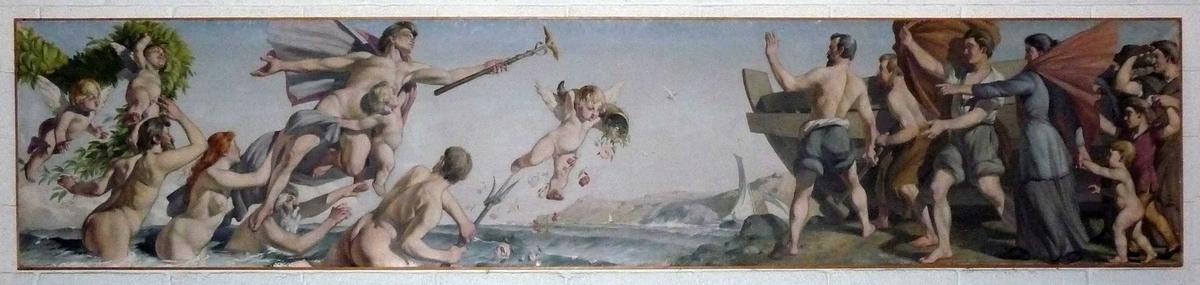 Allegori over sjøfarten i Arendal, malt som frise på to lerreter i blyantformat. På lerretet a sees en  båt under seil, bemannet av sjømenn  og matroser, kjøpmannen sitter i stavnen i rik renessansedrakt.  Båten er  omgitt av nereider og, havmenn, små putti snor blomster  grønt i guirlandere mellom seg, foran båten drar et rikt følge av nakne havfolk, anført av svevende Mercur med staven han ser mot land hvor båtbyggere  nettopp har bygget en båt, og viser til den hjemvendende båt hvilke rikdommer havet gir.