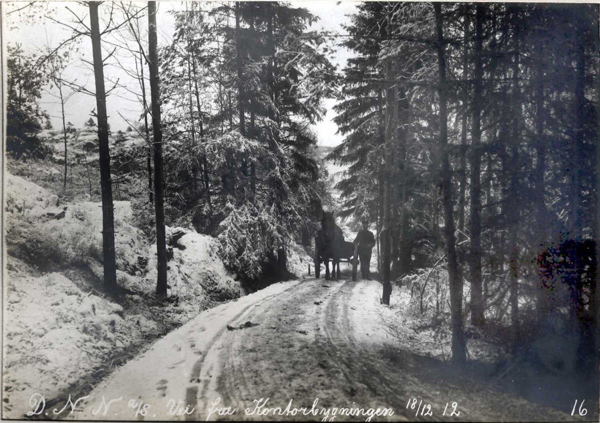 """""""18/12-1912"""" Nitriden. Idyllisk vei fra kontorbygningen. Hest og kjerre vanlig framkomst- og transportmiddel."""