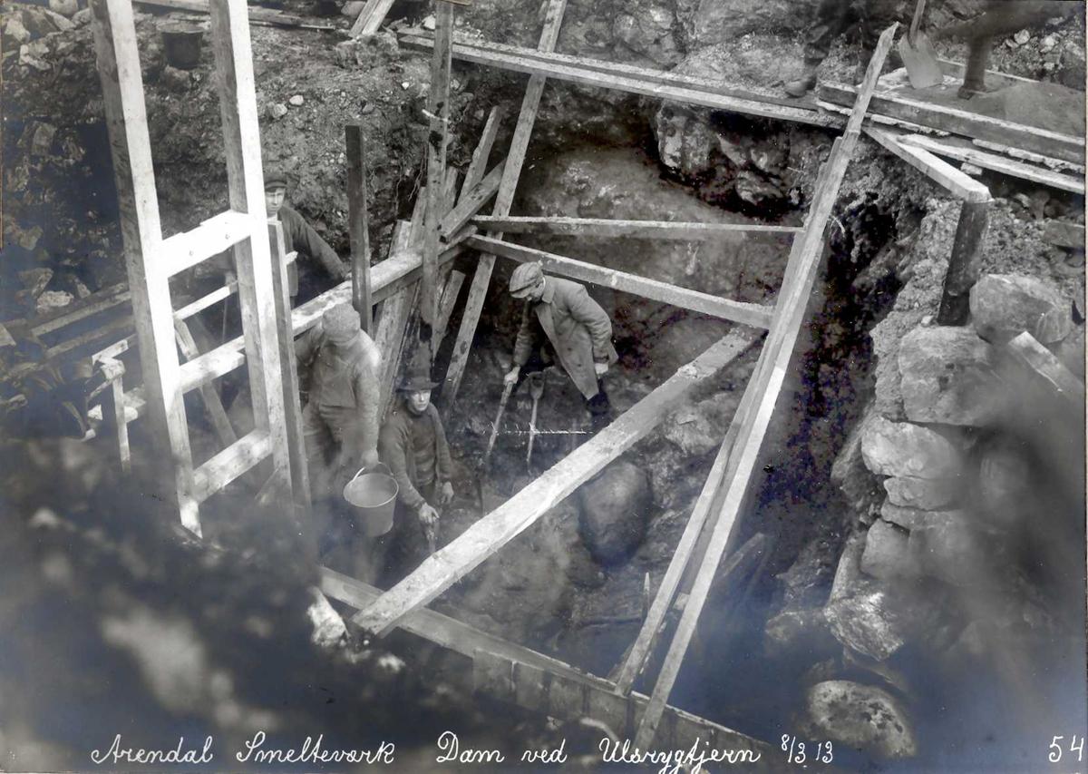 """""""08/03-1913"""" Eydehavn, Nitriden, Smelteverket, Dam for vanntilførsel ved Stemtjern."""