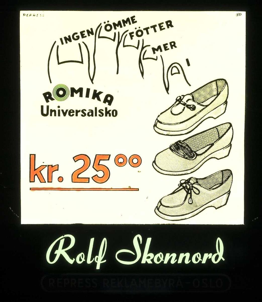 Kinoreklame fra Ski. Ingen ømme føtter mer. Romika Universalsko kr. 25.00. Rolf Skonnord