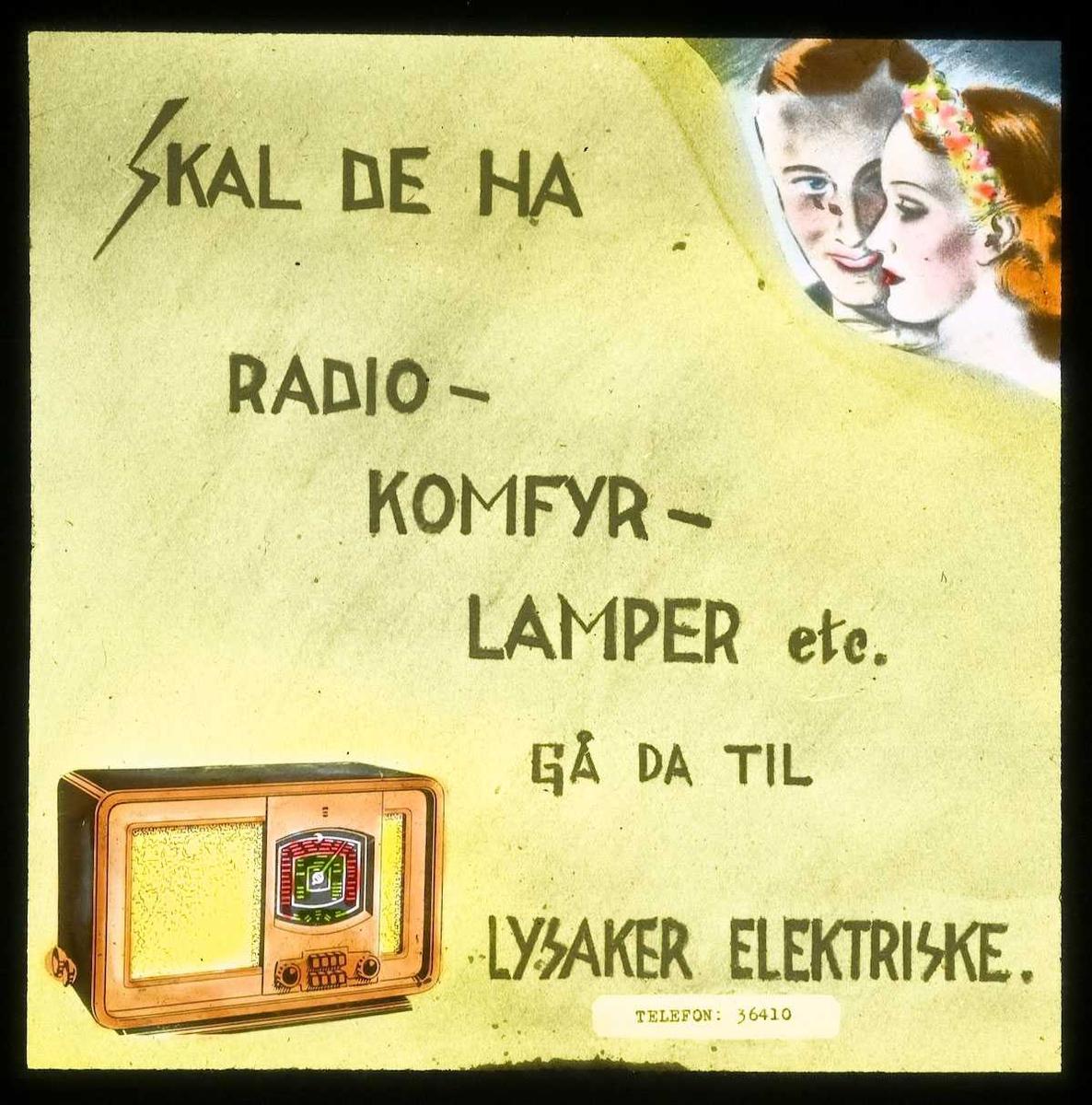 Kinoreklame fra Ski. Skal De ha radio, komfyr, lamper etc. gå da til Lysaker elektriske.