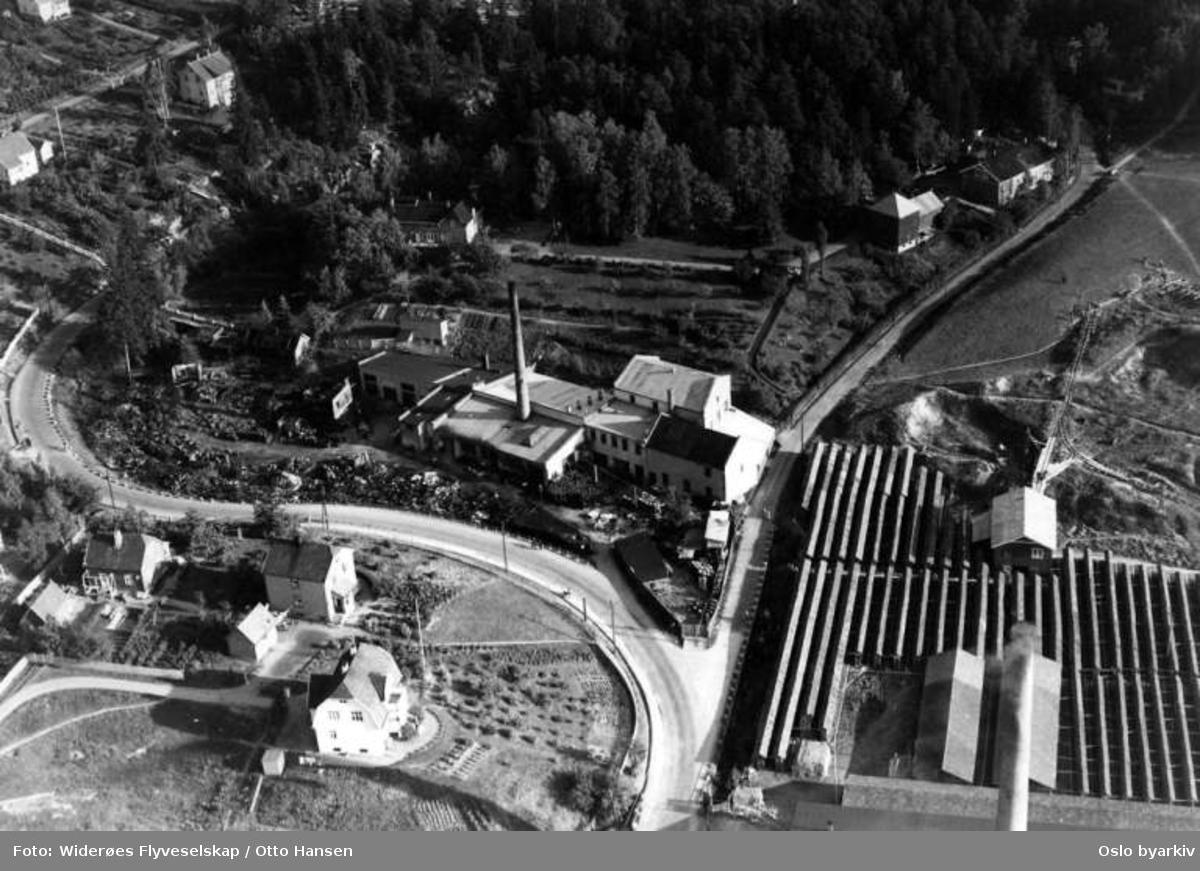 Høyenhall fabrikker, Høyenhall Teglverk, Østensjøveien, Bryn (Flyfoto)