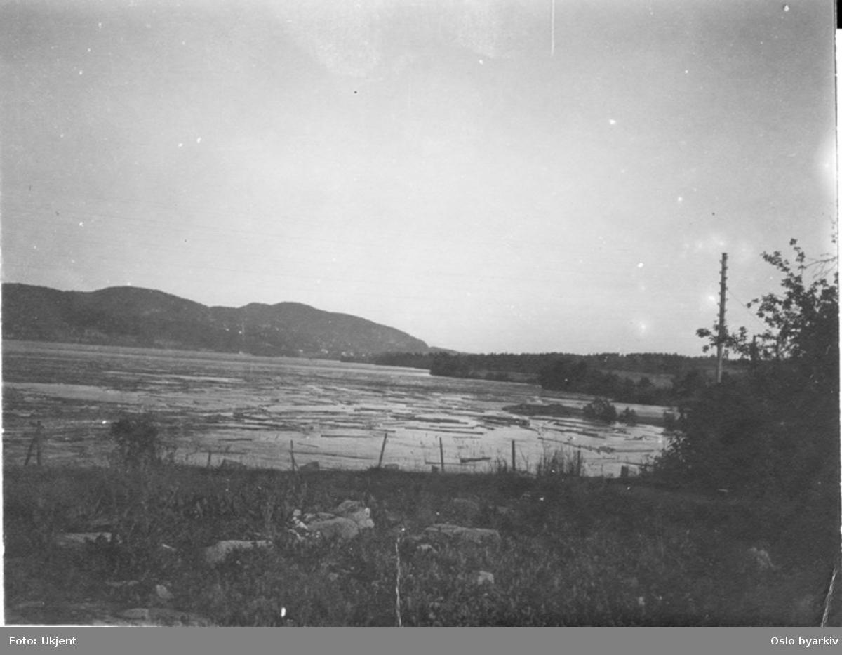 Fløting på Maridalsvannet. Grefsenåsen i bakgrunnen.