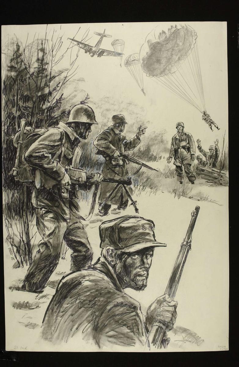 Norske styrker møter tyske fallskjermjegere på Dombås. Tegning Hauge 1975.