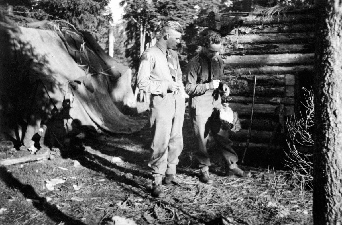 Ole Dalby og Einar Ness, Milorg D-25, Rauskjørbua ved Glebekken, Endelausa, Hamarseterhøgda, Ringsakerfjellet. Hjemmestyrkene, krigen, fredsvåren 1945.