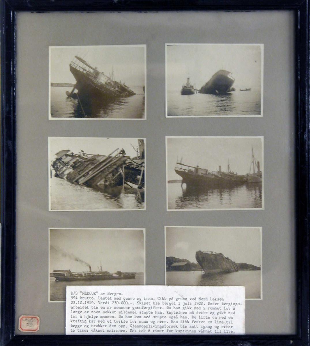 """6 fotografier av D/S """"Mercur"""" som har forlist ved Nord Leksen 23.101919."""
