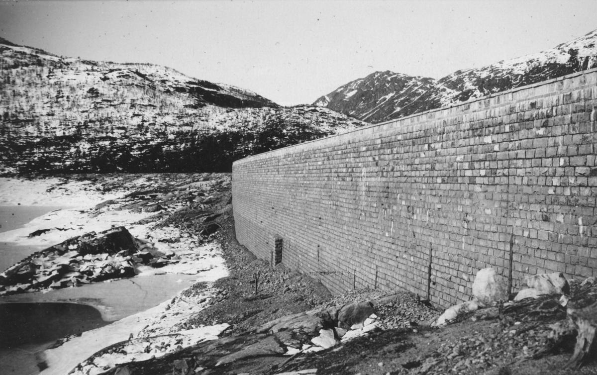 Ringedalsdammen, innsida av dam, låg vannstand, vinter, is, Åsen