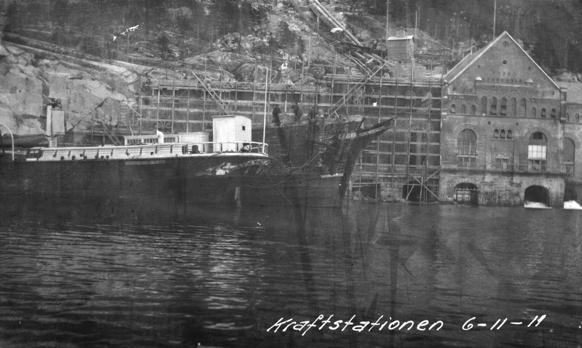 anlegg, muring, Tysso I, kraftstasjon, 2. byggjetrinn, båt
