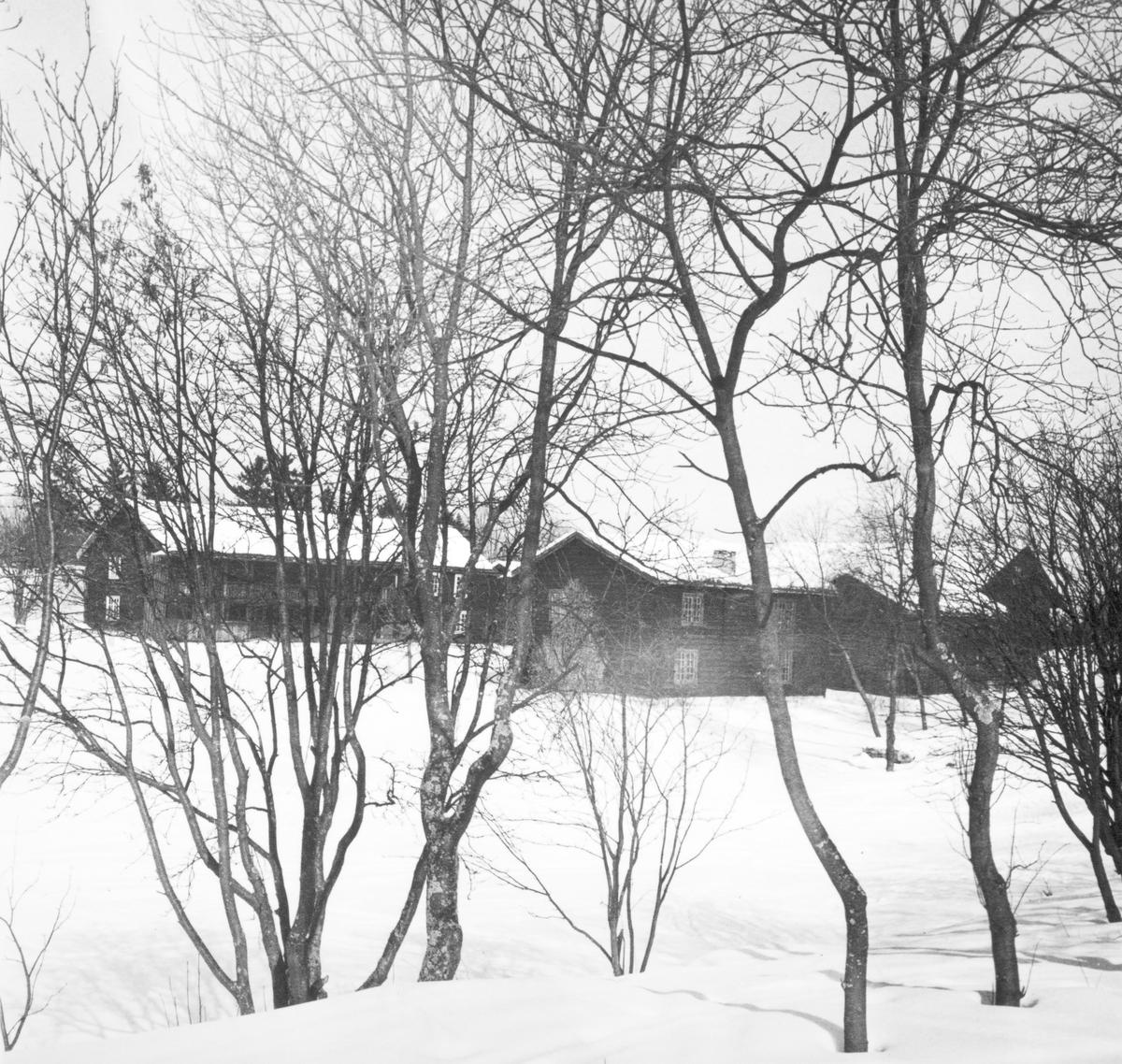 Hedmarksmuseet. Vinter, museumshus på Hedmarkstunet, Hubred og Grimsrudbygningen. Domkirkeodden, Hamar.