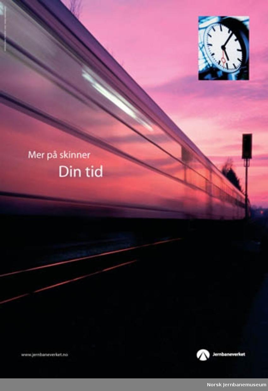 """Reklameplakater : """"Mer på skinner"""" : """"Din tid"""""""