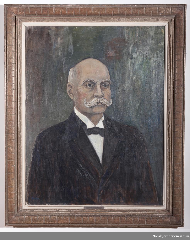 Maleri i ramme av generaldirektør Elias Sunde. Generaldirektør i NSB 1903-1910.