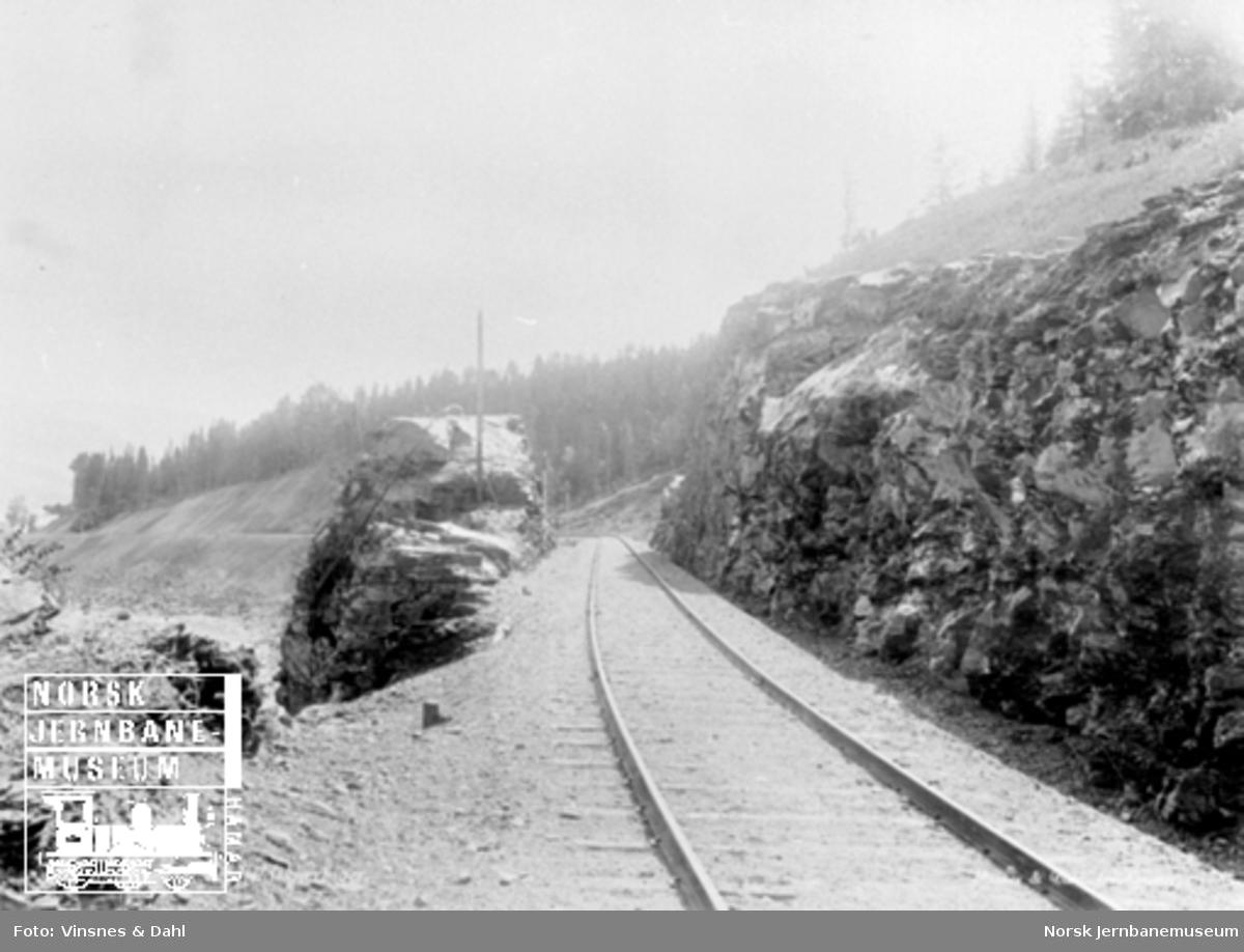 Linjeføringen gjennom en stor fjellskjæring mellom Tretten og Losna