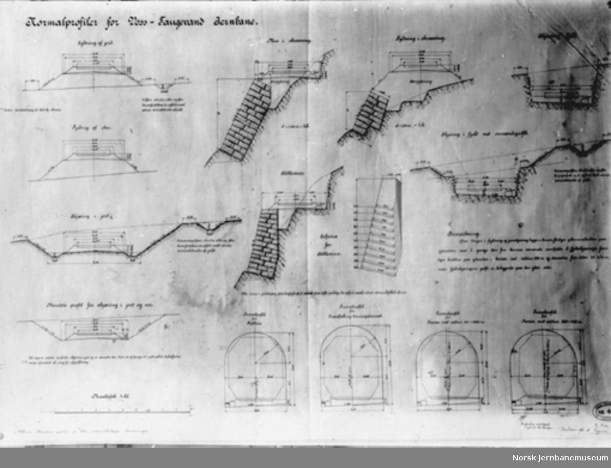 Bergensbanens anlegg; foto av tegning med normalprofiler for Voss-Taugevand-Jernbane