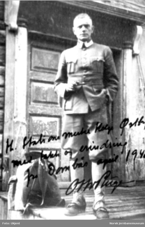 """Bilde av Otto Ruge med påskrift """"Hr. Stationsmester Helge Østbye med takk og erindring fra Dombås april 1940. Otto Ruge."""""""