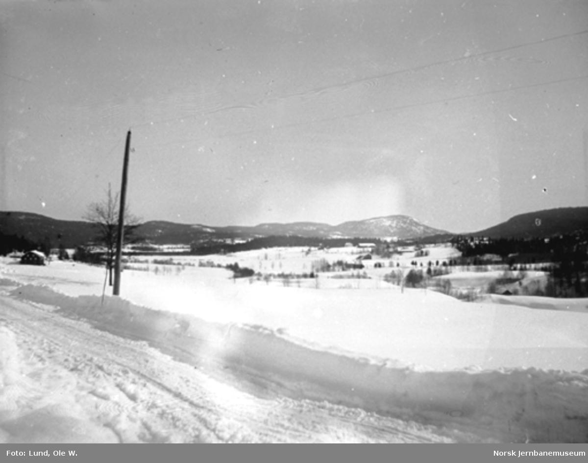 Fra anlegget av Holmestrand-Vittingfossbanen : vinterbilde fra Vatsås med landevegen i forgrunnen