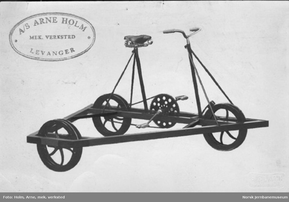 Trehjuls sykkeldresin, leveransefoto fra A/S Arne Holm Mek. verksted, Levanger