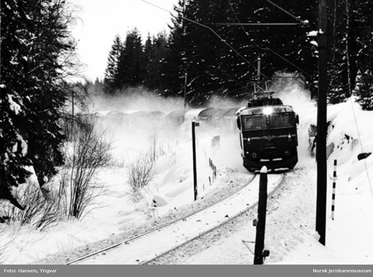 Godstog 41612 med elektrisk lokomotiv El 14 ved Kjenn