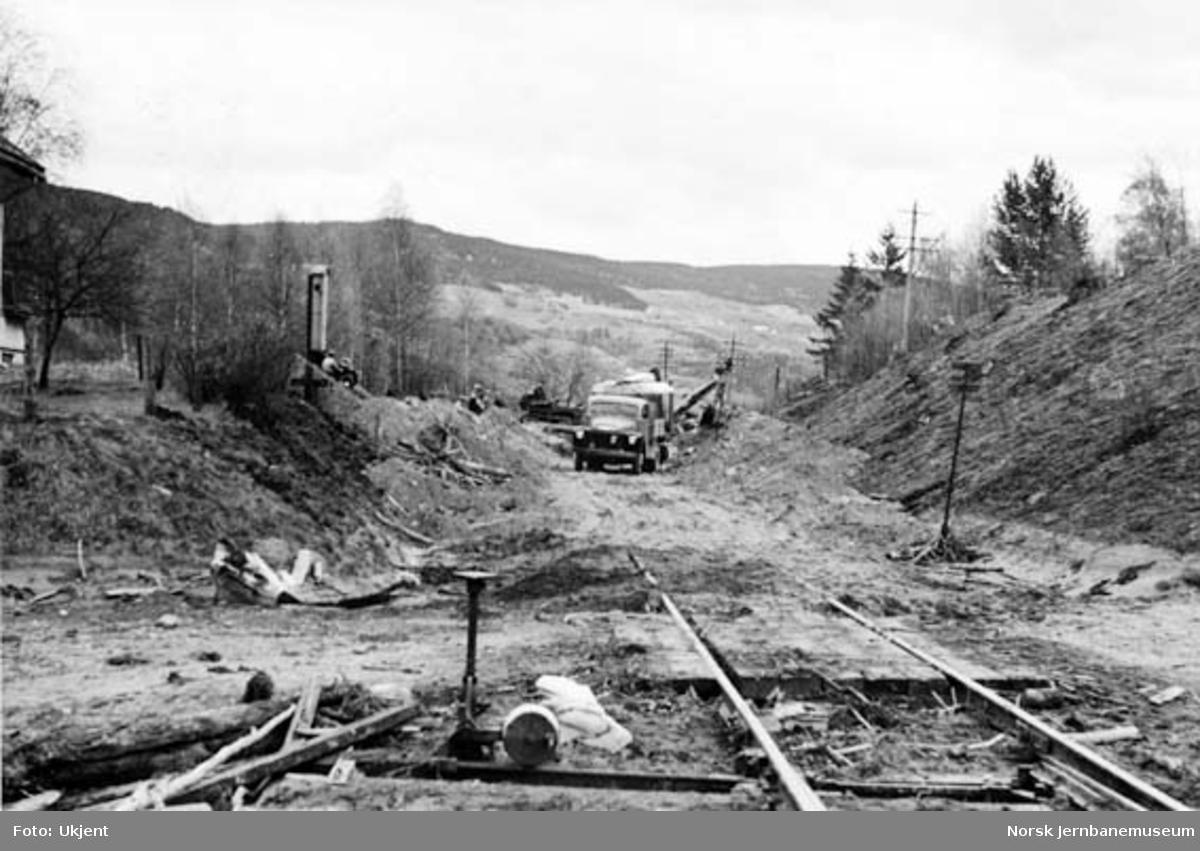 Utrasing under flom ved sør for Losna stsjon 26. mai 1958