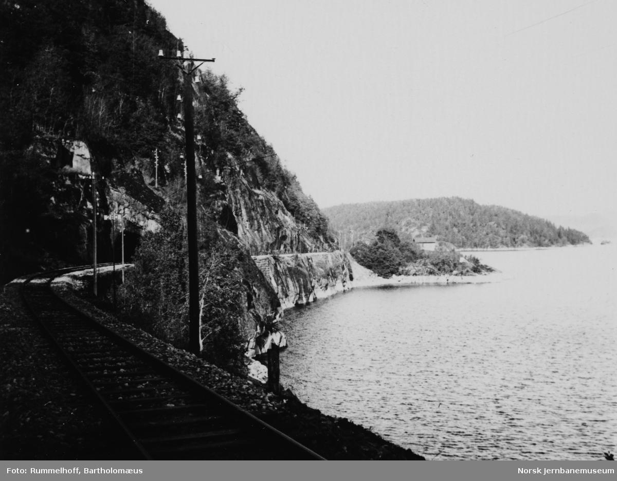 Linjeparti fra Vestfoldbanen ved Sandviksodden i Farris