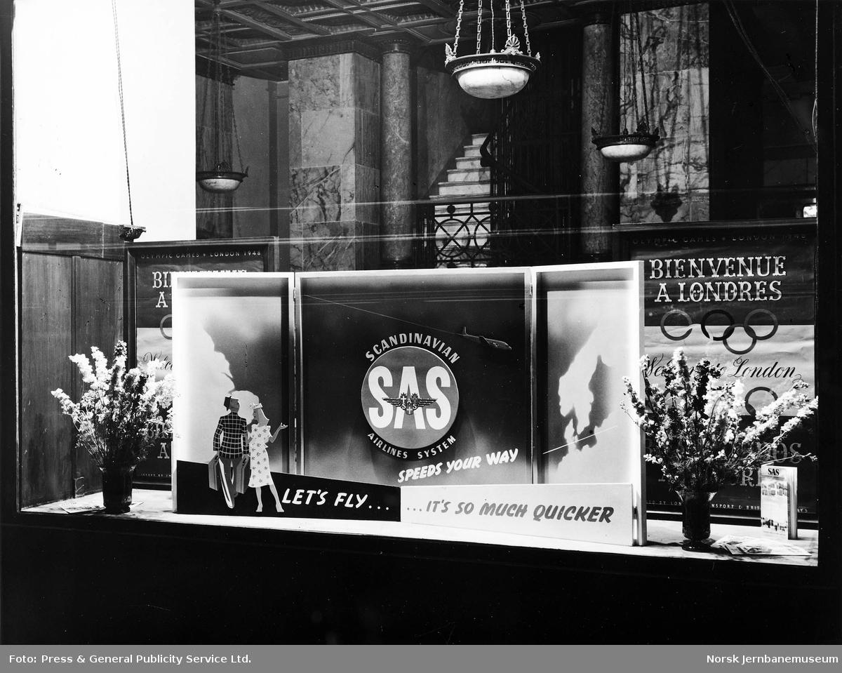 Reklame i NSBs reisebyrå i London