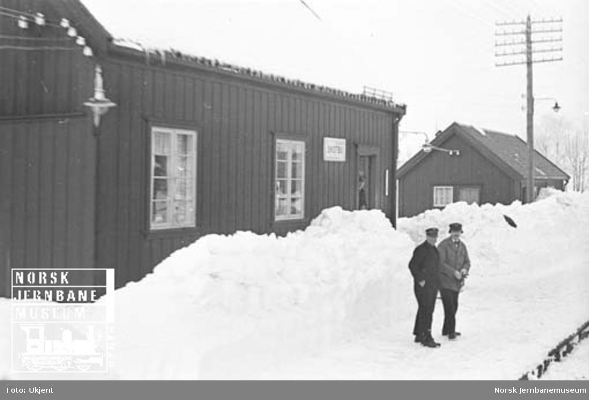 Skotbu stoppested med store snømengder