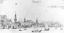 """HamburgFra skissealbum av John W. Edy, """"Drawings Norway 180"""
