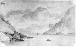 """Brevik/ HelgeroaFra skissealbum av John W. Edy, """"Drawings N"""