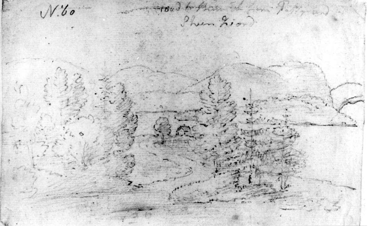 """SkienFra skissealbum av John W. Edy, """"Drawings Norway 1800""""."""