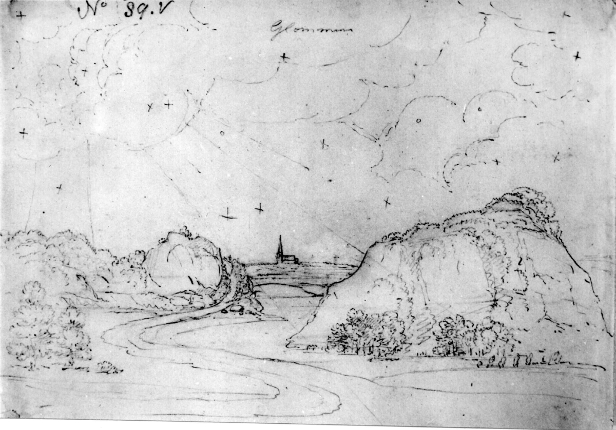 "GlommaFra skissealbum av John W. Edy, ""Drawings Norway 1800""."