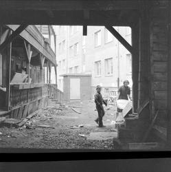 Sandaker, Oslo, 17.11.1956. Regulering. Boligblokk og hus un