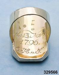 """Ring av guld med miniatyrporträtt föreställande Märtha Helena Reenstierna. Målat 1796 på ben i gouacheteknik av Jacob Henric Rönngren (1756-1822) på beställning av M.H.R. även kallad """"Årstafrun"""". Ringen avsedd som gåva till hennnes make ryttmästaren Christian Henric von Schnell på hans namnsdag den 13 november 1796. Graverat C.H.v.S. d. 13 Nov. 1796.  Monteringen med 18K guld utförd av juveleraren Nils Hofsten. Stämplar: O2 (1796), S:t Erik, NH, 18K,  Kontrollmärke) Sannolikt omarbetad montering 1814. Porträttet avbildar Märtha Helena Reenstierna i bröstbild sittandes i halvprofil iklädd blå klänning med liten rosenbukett i barmen. Hennes hår är friserat i täta små lockar, håret når nedaför nacken och hon har en smal rosengirlang runt håret. Ögonen bruna. Svagt rosa kinder. Bakgrunden mörk.  Jacob Henric Rönngren var kapten-mecanicus i arméns flotta. Han var född i Finland 1756 men slutade sina dagar i Stockholm 1822. Något dussin av hans miniatyrporträtt är kända - de flesta i Finland och vanligen knutna till officerskåren. Ett porträtt tillhör Finlands Nationalmuseum. I Nationalmuseum, Stockholm, finns sju miniatyrporträtt bl a av gmj Corfitz Beck-Friis (1724-1798), öljt David von Schewen (1770-1841) samt dåv kh i Finska församlingen, Bengt Lange.     Nils Hofsten blev mästare som juvelerare i Stockholm 1788. Hans ritning till mästerstycke finns på Nationalmuseum. Hofsten stämplade 1795 -1805. Död 1814. Ingrid Roos 2011-01-17"""