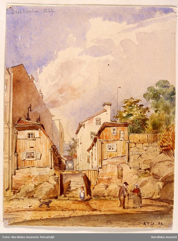 Akvarell av A T Gellerstedt 1862. Stockholm, Norrmalm, Kvarteret Torkan 1. Regeringsgatan.