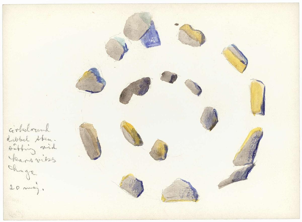Stensättning målad ovanifrån.